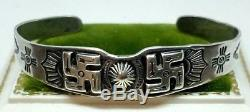 Early 1930's Coin Silver Whirling Log Bracelet Fred Harvey Era Snakes Arrows H73