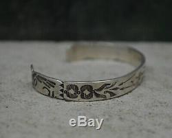 Early 20th C Antique Navajo Fred Harvey Silver Turquoise Chief Profile Bracelet