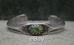 Early 20th C Antique Navajo Fred Harvey Silver Turquoise Hand Terminal Bracelet