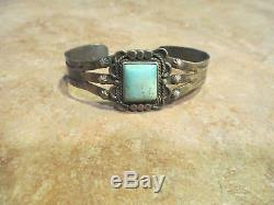 Early Fred Harvey Era Navajo Sterling Silver Square Turquoise Raindrop Bracelet