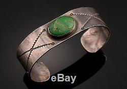 Early Fred Harvey Era Silver Green Turquoise Navajo Bracelet Hand Stamped