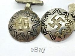 Early Fred Harvey Era Whirling Log Arrows Coin Silver Old Pawn Tourist Cufflinks