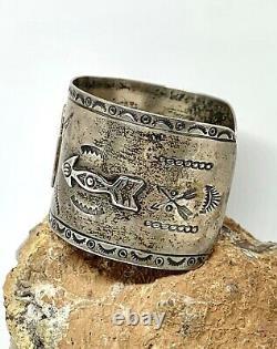 Early Fred Harvey Southwestern Navajo Sterling Silver Thunderbird Cuff Bracelet
