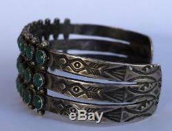 Early Fred Harvey Stamped Sterling Silver Petit Point Turquoise Cuff Bracelet
