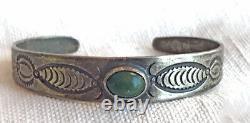 Early Navajo Ingot Sterling Silver Turquoise Bracelet Vintage Old Fred Harvey