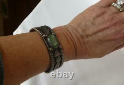 Early Navajo Old Pawn Ingot Silver Green Turquoise Overlay Bracelet Fred Harvey