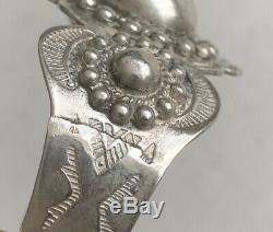 Early Old Fred Harvey Era Wide Sterling Silver Cuff Bracelet Stamped Arrows