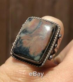 Early Old Pawn Navajo Fred Harvey Era Sterling Silver Red Petrified Wood Ring