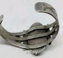 Early Sterling Silver Turquoise Cuff Bracelet Fred Harvey Era 1930's Dry Creek