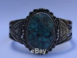 Exceptional Old Pawn Fred Harvey Era Silver Gem Morenci Turquoise Cuff Bracelet