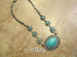 Exquisite OLD Fred Harvey Era Navajo Sterling Silver Turquoise Necklace