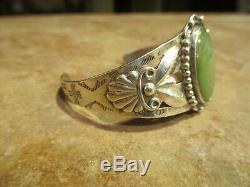 Extra Fine OLD Fred Harvey Era Navajo Sterling Silver GREEN Turquoise Bracelet