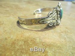 FINE OLD Fred Harvey Era Navajo Coin Silver Turquoise FLORAL ARROWHEAD Bracelet