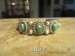 FINE OLD Fred Harvey Era Navajo DESERT GEM Sterling Silver Turquoise Bracelet