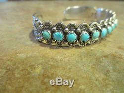 FINE OLD Fred Harvey Era Navajo Sterling Silver PREMIUM Turquoise ROW Bracelet