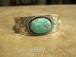 FINE OLD Fred Harvey Era Navajo Sterling Silver PREMIUM Turquoise SUN Bracelet