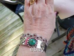 FINE OLD Fred Harvey Era Navajo Sterling Silver Turquoise Thunderbird Bracelet