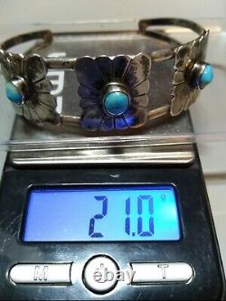 FRED HARVEY ERA 3 SETTING NAVAJO STERLING SILVER TURQUOISE Cuff 21 Grams