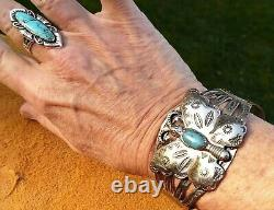 FRED HARVEY ERA BELL TRADING POST Nickel Silver Turquoise Butterfly Cuff 28.1 Gr