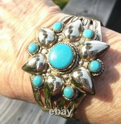 FRED HARVEY ERA BELL TRADING POST Nickel Silver Turquoise Flower Cuff 28.1 Gr