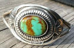 FRED HARVEY ERA NAVAJO STERLING SILVER ROYSTON RIBBON TURQUOISE Cuff 31.8 Gr