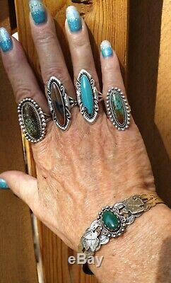 FRED HARVEY ERA NICE Sterling Silver Turquoise Thunderbird Cuff 14.9 Grams