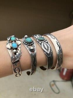 FRED HARVEY ERA Old Pawn Sterling Silver Stamped TURQUOISE CUFF BRACELET LOT 4