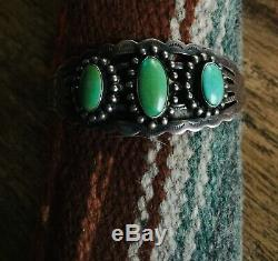 FRED HARVEY Era Navajo Handmade Sterling Silver 3 stone Turquoise Bracelet
