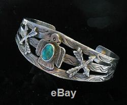 FRED HARVEY Maisels STERLING SILVER & Turquoise Thunderbird Arrows Cuff Bracelet