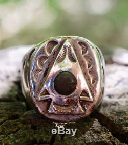 FRED HARVEY Sterling Silver ARROWHEAD Green Turquoise Ring LARGE Size 10 1940's