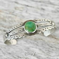 FRED HARVEY Turquoise Bracelet Cuff Cutout Sterling Silver Handmade RRL Old Pawn