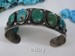 FRed Harvey Era NAVAJO Stamped COIN Silver 90%+Ag CARICO LAKE Turquoise BRACELET