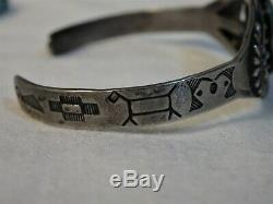 FRed Harvey Era Natural FOX Mine TURQUOISE STERLING Silver HORSE ButterFly CUFF