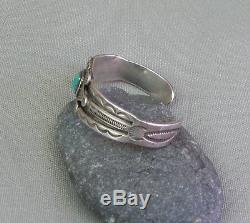 Fine Old Vintage Fred Harvey Era Silver Square Turquoise Cuff Bracelet