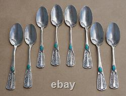 Fred Harvey 1920s Souvenir Tourist Trading Post Silver Turquoise Navajo 8 Spoons