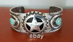 Fred Harvey 1940's Cuff Bracelet, Sterling Silver, Turquoise, Horseshoes, Star