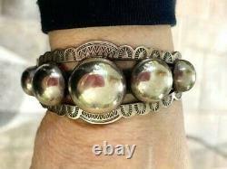 Fred Harvey Antique Silver Bubble Cuff Bracelet Stamped Vintage