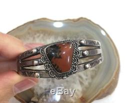 Fred Harvey Coin or Sterling Silver Petrified Wood Small Unisex Cuff 6 Inches