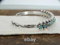 Fred Harvey Cuff Bracelet Zuni Sterling Silver Turquoise Petit Point Snake Eyes