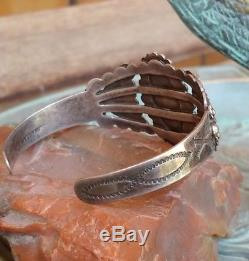 Fred Harvey Era Blue Gem Turquoise Coin Silver Arrow Stamped Cuff Bracelet