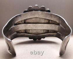 Fred Harvey Era Blue Spiderweb Turquoise Sterling Silver cuff bracelet 92 grams