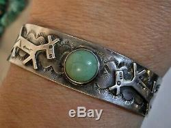 Fred Harvey Era CROW SPRINGS Turquoise SILVER 90%Ag WHIRLING LOGS + HORSE Cuff