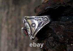 Fred Harvey Era Cigar Band Thunderbird Silver Turquoise Ring Sz 4 rare form