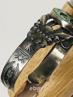 Fred Harvey Era Coin Silver Fine Cuff Bracelet Carico Lake Turquoise Rare Estate