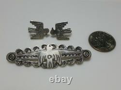 Fred Harvey Era Coin Silver Sterling Silver Thunderbird Brooch Pin Earrings Set