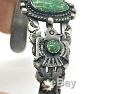 Fred Harvey Era Coin Silver Thunderbird Turquoise Stamp Cuff Bracelet Navajo TS
