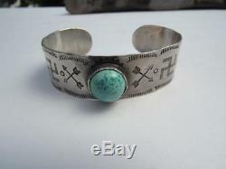 Fred Harvey Era Coin Silver & Turuqoise Handstamped Navajo Cuff Bracelet-23.7 gr