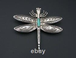 Fred Harvey Era Dragonfly Turquoise Sterling Silver Brooch 2.5 Stamped OS538