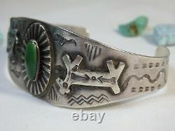 Fred Harvey Era HOPI Natural CERRILLOS TURQUOUISE STERLING Silver HORSE Cuff