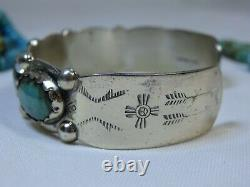 Fred Harvey Era HOPI Natural CROW SPRINGS TURQUOISE STERLING Silver CUFF Maisels